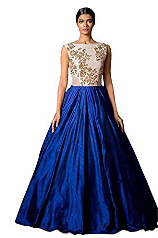 Ladies4Zone Womens Fancy western wear and party wear Cotton Silk Blue Embroidered lengha