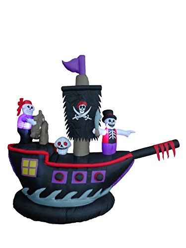 7 Foot Long Halloween Inflatable Pirate Ship with Skeletons Crew Skull Decoration by BZB (Halloween Inflatables)