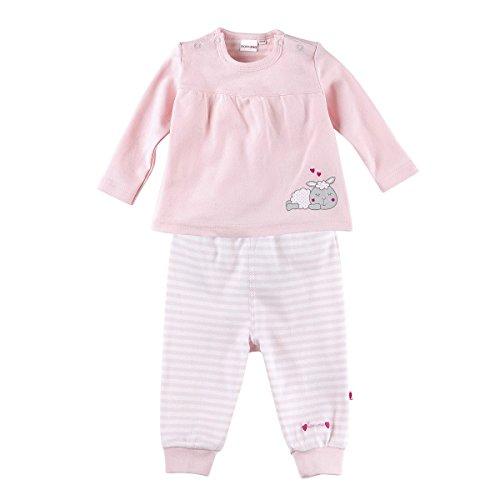 Bornino Schlafanzug lang - Langarm-Pyjama für Babys mit Schäfchen-Print - Oberteil mit Druckknöpfen & Hose mit elastischem Bund - rosa/weiß