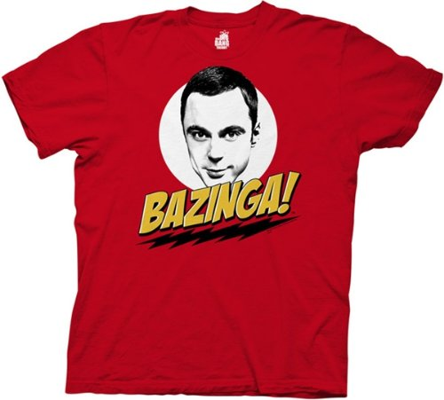 The Big Bang Theory Sheldon Cooper Bazinga! Rot Erwachsene T-shirt Tee (XX-Large) (Erwachsene Tee Rot)