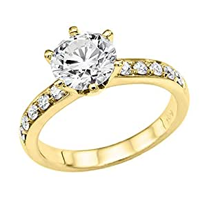 3/4 ct. Round Diamond Solitaire Engagement Ring in 18k Yellow Gold