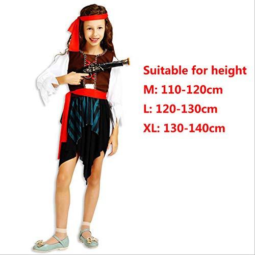 Halloween Kinder Maskerade Kostüme Jungen und Mädchen Karibik Piraten Kleidung Kinder Piraten Kostüme,girl,XL