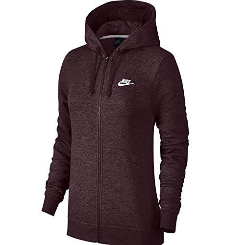 Nike NSW Hoodie FZ FLC, Sweatshirt mit Kapuze Damen S Bordeaux/Htr/Bordeaux/White