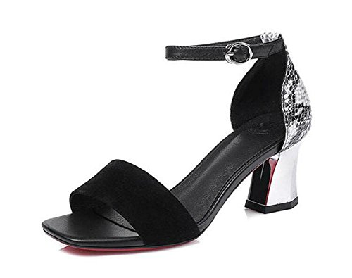Open-Toe-Knöchelriemen-Pumpe Schaffell-römische Sandalen Große Größen-Schuhe Schwarzes Black