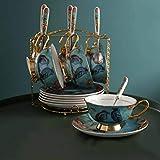 JFBZS-Kaffeetasse Blume und Vogel Tasse und Teller die ländliche Kaffee Tee Kaffee mit Einem löffel utensilien c