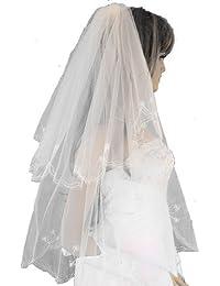 ladyMYP© 2lg Brautschleier gestickter Kante aus Satin und Strass Feintüll, 55/80 cm, weiß / ivory
