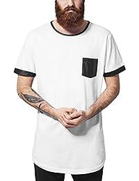 Urban Classics Herren T-Shirt Long Shaped Leather Imitation Tee