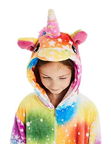 Karneval Tier Einhorn Pyjamas Cosplay Kostüm Jumpsuit Nachtwäsche Kinder Schlafanzug Fasching Halloween Onesie (Tier Kostüm Mädchen)
