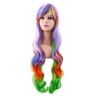 Nourich Fashion Multicolor Long Curly Hair Wigs-31 Inches Mixed Color Lace Wig Mixed Color Long Natural Wavy Middle Part Synthetic Lace Front Wigs For Women Girls