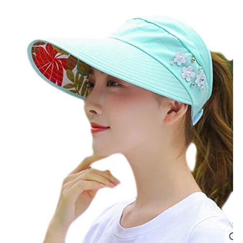 Black Temptation Chapeau de Protection UV de Mode Chapeau élégant Sunscreen Chapeau de Perles pour Femmes Soins de la Peau-Lake Blue