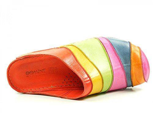 Gemini 32091-02 Schuhe Damen Pantoletten Clogs Sabot Leder Mehrfarbig