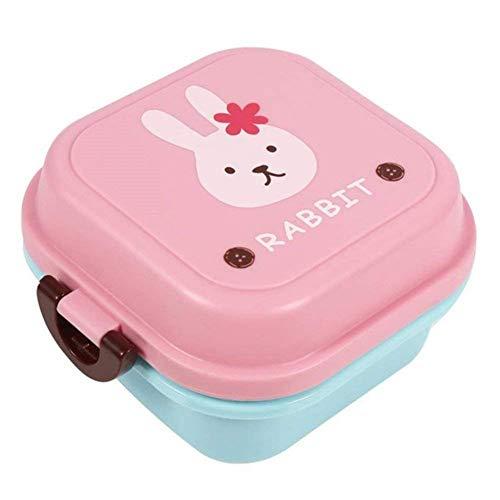 Brotdose für Kinder Junge Mädchen Cartoon 2-Schichten Lunchbox Frühstücksbox Kindergarten Büro Snackbox leicht tragbar Essensbox für Camping Schule Wandern Reise Picknick (Cartoon-Häschen Muster)