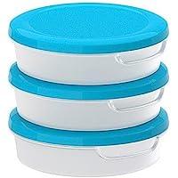 MEICHEN tondo trasparente contenitore di alimento di plastica bianca con coperchio in polipropilene confezione da 3, 13.5x13.5x4cm