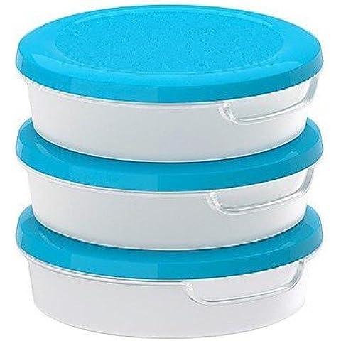 JSGN-tondo trasparente contenitore di alimento di plastica bianca con coperchio in polipropilene confezione da 3, 13.5x13.5x4cm