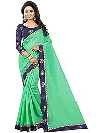 Vastrang Women's Chanderi Cotton Saree With Blouse Piece(1312ROSGRN_Green_Free Size)
