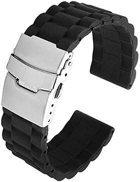 JSDDE Schwarz Silikon Uhr Armband Wasserdicht Taucheruhr Band Edelstahl Faltschließe(Schwarz 20mm)
