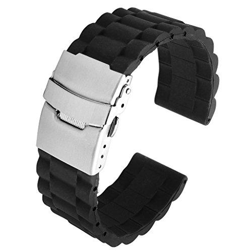 JSDDE Schwarz Silikon Uhr Armband Wasserdicht Taucheruhr Band Edelstahl Faltschließe(Schwarz 22mm)