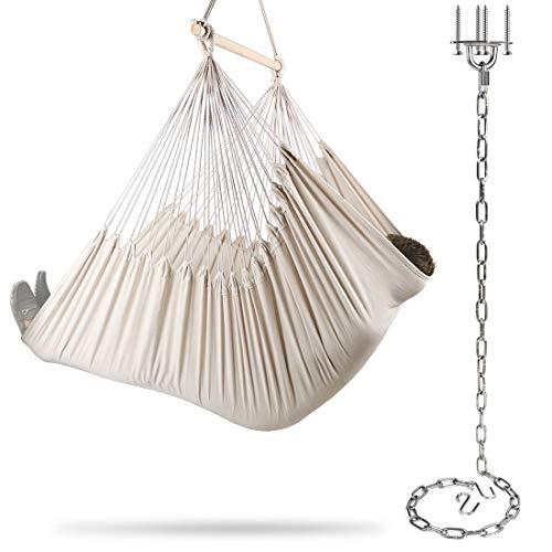 Chihee XXL Hängesessel Extra großer Hängesessel Relax Swing Chair Baumwollgewebe für überlegenen Komfort Langlebigkeit Chain Link Hanging Kit für Innen-Schlafzimmer im Freien Patio Yard Garden