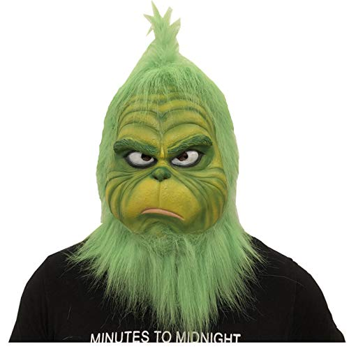 FUGUI Grinch Kostüm, Weihnachten Grinchmaske Grinch Maske Latex Kostüm Mask Sammlerstück Prop Scary Mask ()