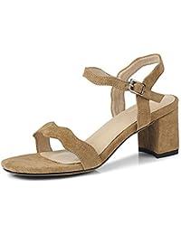Sandalias de Cuero de la Mujer de Verano Correa de Tobillo Abierto Dedo del  Pie Medio e276416d0870