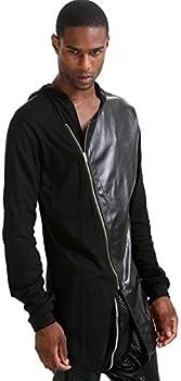 Pizoff Unisex Hip Hop Gotik Punk Zip Up Extra Long Black Coat Jacket Hoodie 0