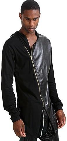 Pizoff Homme Sweat long à capuche en similicuir P3114-black-L