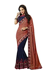 Aarti Latest Fashionable Party Wear Fancy Saree Bridal Embroidery Saree Wedding Wear Free Size - B00VRM72I8