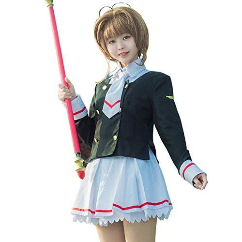 School One Kostüm Piece Girl - Mikimoto Sakura Junior High School Uniform Anime magische Karte Mädchen erstaunlich, Sakura kennt die Welt Erwachsenen 3D-Stil,Junior high School Girl Costume-S