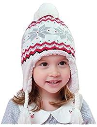 Snyemio Cappello Invernale a Maglia Bimba Bambina Ragazza Paraorecchie  Infantile Knit PON PON Berretto d7535428a8ca