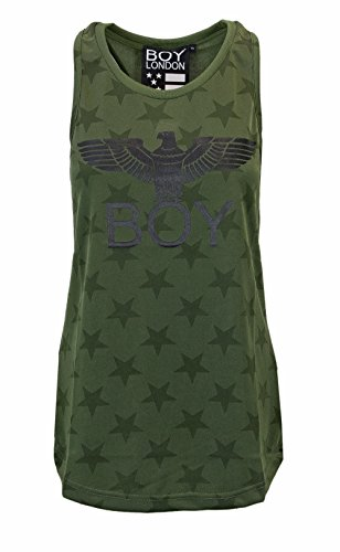 Boy London Donna Canotta Over TRIACETATA con Stampa BL1111 Verde oliva