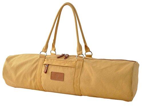 Sac de yoga »Damayanti« de #DoYourYoga 100% toile coton de haute qualité (toile à voile), fabriqué avec soin, pour les matelas de yoga et de pilates de dimensions allant jusqu'à 186 cm x 60 cm x 0,5 cm, jaune pastel