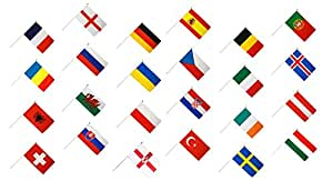 Flaggenfritze® Stockflaggen Set EM 2016 – 30 x 45 cm, alle 24 Nationen + gratis Sticker