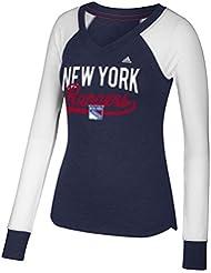 "New York Rangers Women's Adidas NHL ""Puck Drop"" Dual Blend Long Sleeve T-Shirt Chemise"