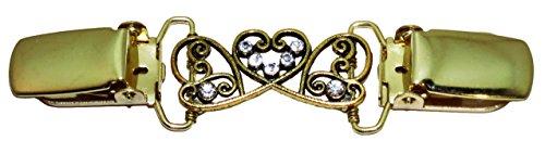 Besser Als Tasten Damen Strickjacke Herz mit Kristallen Clip Gr. One size, gold