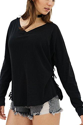 trueprodigy Casual Damen Marken Long Sleeve einfarbig Basic, Oberteil cool und stylisch mit V-Ausschnitt (Langarm & Slim Fit), Langarmshirt für Frauen in Farbe: Schwarz 1182501-2999-XL