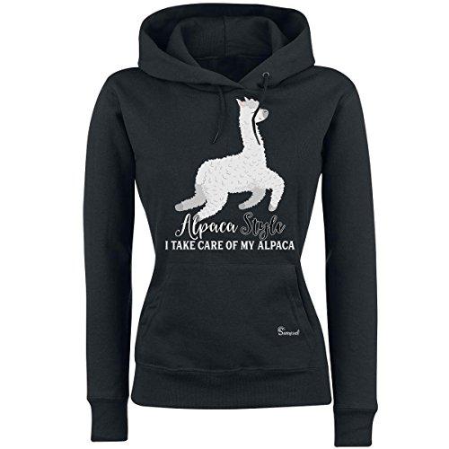 Sunnywall Alpaka *MOTIVAUSWAHL* - Alpaca Sweatshirt Hoodie Ladyfit Damen Kapuzen schwarz Pullover (154 i take of My Alpaca, S) - Alpaka Pullover