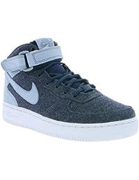 Nike AIR Force 1 '07 MID LTHR PRM Womens Basketball-Shoes 857666-400_7 - Midnight Navy/Midnight Navy-Blue Grey