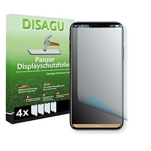 Disagu Apple iPhone XS Displayschutzfolie - 4 x Panzerfolie für Apple iPhone XS Bruchschutzfolie (verkleinerte Folie)