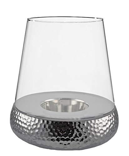 Kaheku Windlicht Golf Silber, Durchmesser 27 cm Keramik Klarglas 99990235