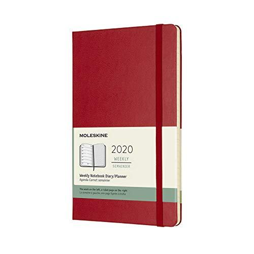 Moleskine 12 Mesi 2020 Agenda Settimanale, Copertina Rigida e Chiusura ad Elastico, Colore Rosso Scarlatto, Dimensione Large 13 x 21 cm, 144 Pagine