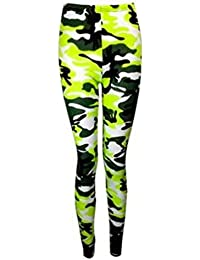 The Home of Fashion New Womens Neon Green Camouflage Print Stretchy Long Leggings