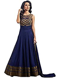 Woman's Net Embroidered Anarkali Semi-Stitched Gown (All_Copper_Semi-Stitiched_Gown)