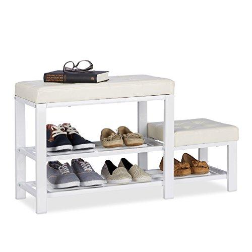 Relaxdays Schuhbank mit Hocker, gemütliche Sitzpolster, Schuhablage mit 2 Ebenen, Kinder, HBT: 50 x 90 x 20 cm, weiß
