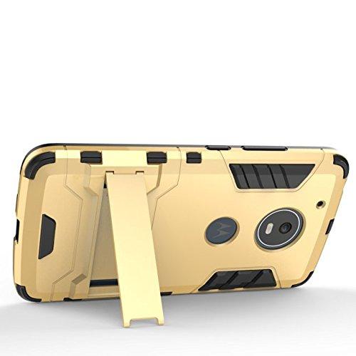 YHUISEN Moto G5 Case, 2 In 1 Iron Armour Tough Style Hybrid Dual Layer Armor Defender PC + TPU Schutzhülle mit Stand Shockproof Gehäuse für Motorola Moto G5 ( Color : Silver ) Gold