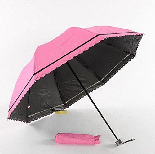 Sucastle Vinyl, lace, mosaic models, umbrellas, explosion models, solid color, Meng powder, sun umbrella Sucastle:Colour:Pink:size:58cm