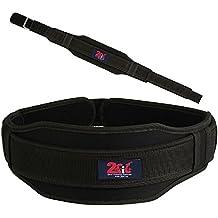 2Fit - Cinturón para levantamiento de pesas, con correa de neopreno para sujeción de la espalda, para entrenamiento de culturismo y fitness, unisex, mujer hombre, negro