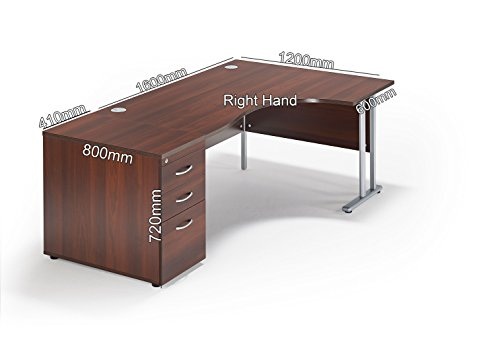 Walnut Curved Executive Office Cantilever Workstation And Desk End 800mm Deep Pedestal Bundle