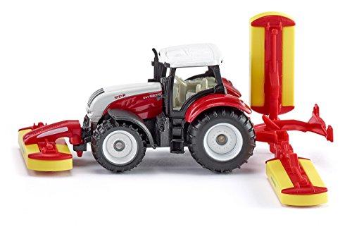 SIKU 1672, Steyr Traktor mit Pöttinger Mähwerkskombination, Metall/Kunststoff, Rot, Spielzeugfahrzeug für Kinder