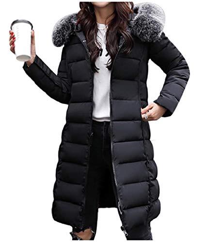CuteRose Women Regular Fit Winter Reversible Fur Collar Overcoat Outerwear Black S Plus-size-reversible Vest