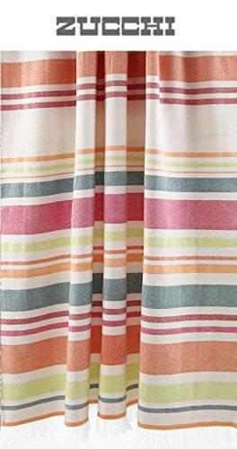 Telo mare pareo zucchi basics cm 90 x 165 100% puro cotone tinto filo con frange (sweet summer arancio - col. 1)
